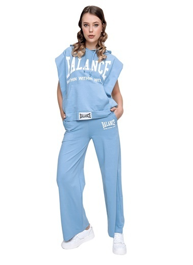 Butikburuç Kadın Mavi Balance Yazı Baskı Eşofman Takım Mavi